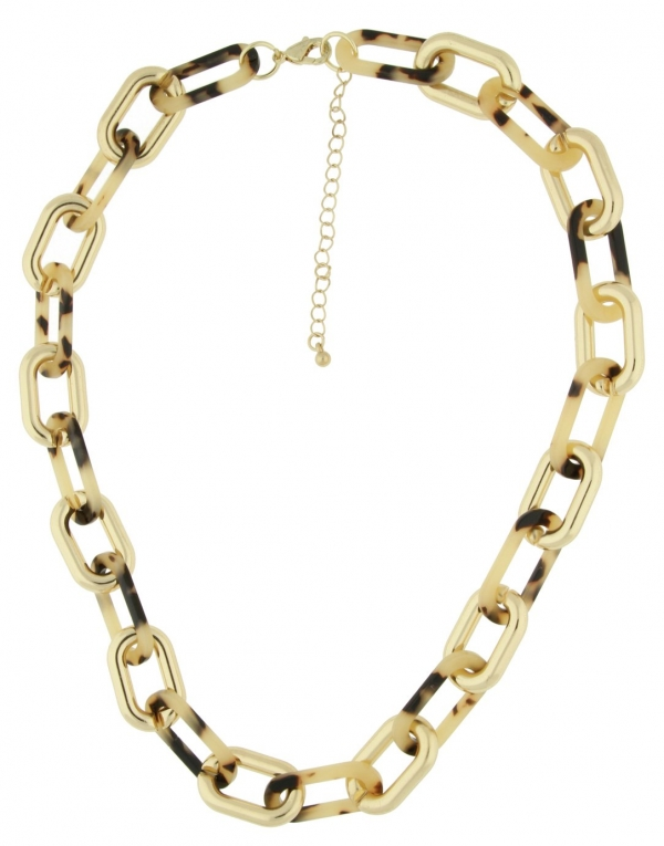 Front Row Gold Colour Animal Print Link Necklace