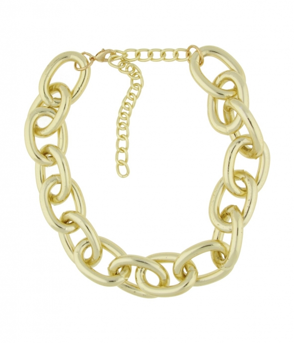 Front Row Gold Colour Oversized Chain Link Necklace