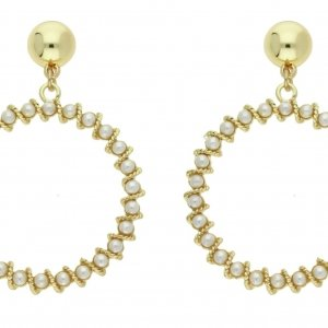 Front Row Gold Colour Pearl Statement Earrings