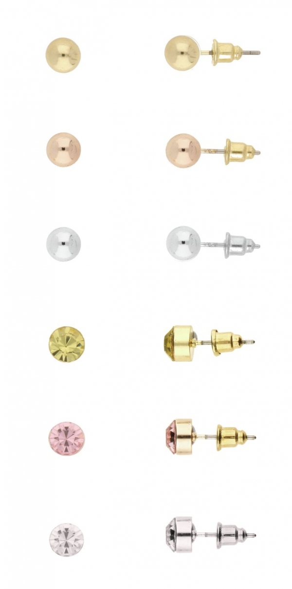 Front Row Mixed Stud Earrings Set of 6