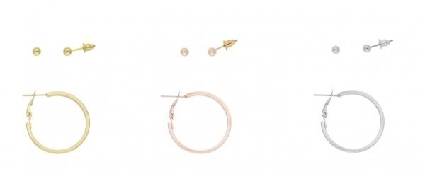 Front Row Mixed Stud and Hoop Earrings - Set of 3