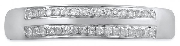 Revere 9ct White Gold 0.10cttw Diamond Two Row Band Ring -L