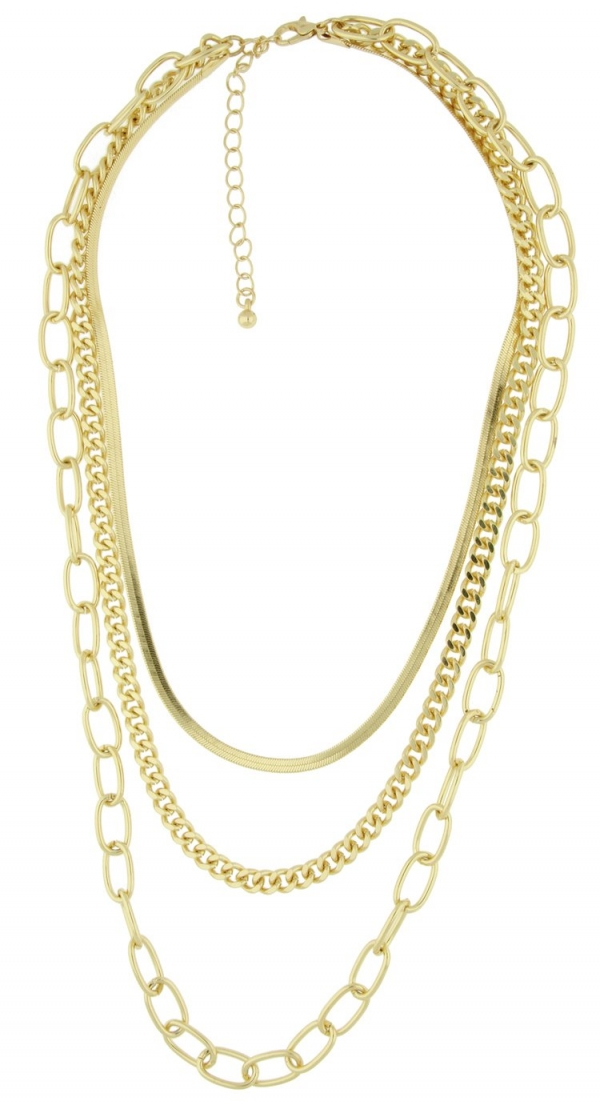 Front Row Gold Colour Multi-Layer Chain Necklace